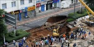 τρύπα, δρόμο, Κίνα,